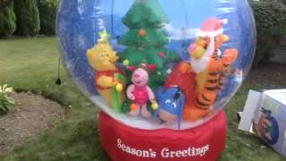 7' Gemmy Airblown Inflatable Christmas Holiday Winnie The Pook, Tigger, Piglet & Eeyore Snow Globe