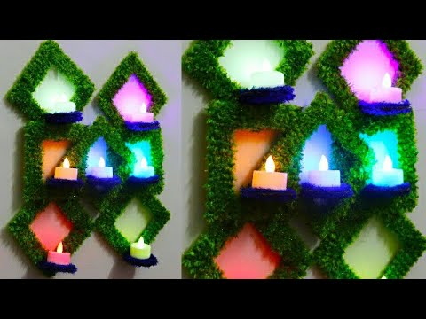 DIY Unique Wall Hanging| Diwali Decor| Easy Craft| DIY Wall Hanging Candle Holder| #tulikajagga
