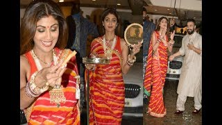 Shilpa Shetty Looking Gorgeous In Saree At Anil Kapoor Karva Chauth Party 2017