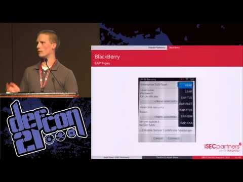 DEF CON 21 Hacking Conference Presentation By Josh Yavor   BYOD PEAP Show   Video and Slides