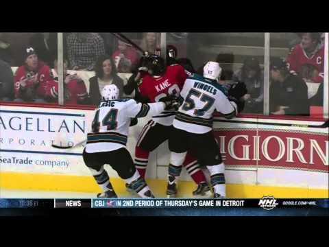 Patrick Kane slashes Tommy Wingels scrum Feb 22 2013 SJ Sharks vs Chicago Blackhawks NHL Hockey