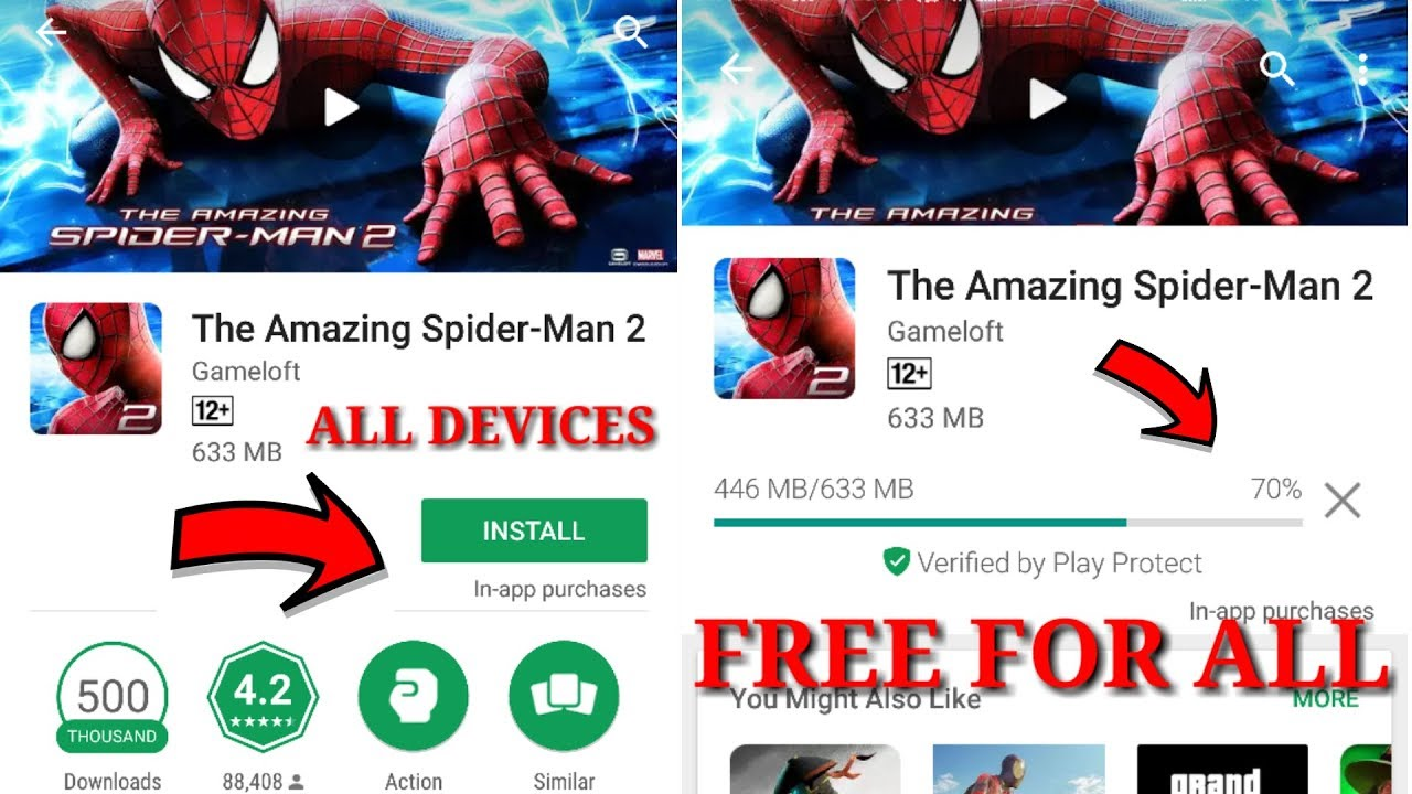 The Amazing Spiderman 2 Free For All Devices || Now You Can Download  Directly On Playstore || Proof