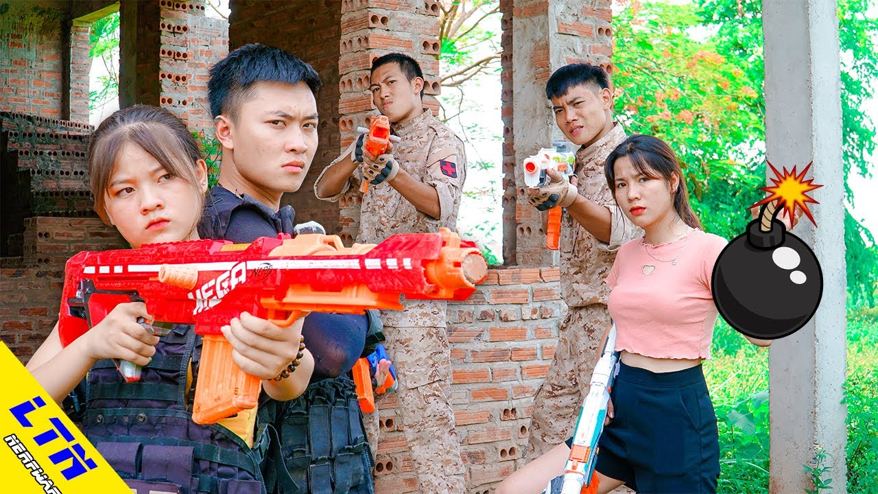 LTN Nerf War : Couple Seal WEARING ARMOR & Delta Force T Nerf Guns Fight Mercenary Team