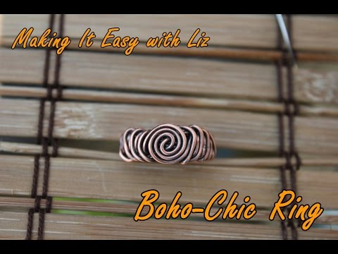 Boho~Chic Copper Ring - Super Easy Wire Work