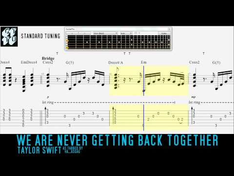 Taylor Swift We Are Never Getting Back Together Acoustic Guitar Pro Tab