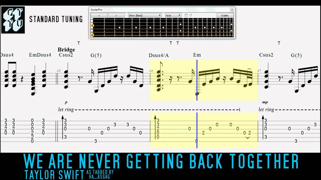 Taylor Swift We Are Never Getting Back Together Acoustic Guitar Pro