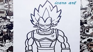 Como dibujar a vegeta ssj dios azul | how to draw vegeta ssj