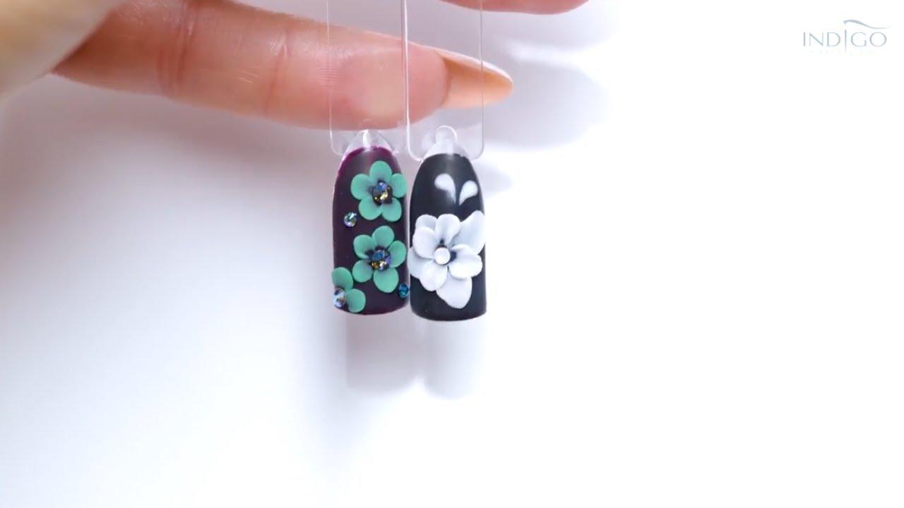 Zdobienia Akrylowe Kwiaty 3d Indigo Nail Art Tutorial Youtube