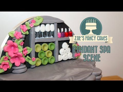 Spa cake boutique scene fondant backdrop pamper day cake decorating tutorials