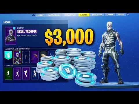 $3000 Fortnite Locker Showcase! 60+ Skins! Skull Trooper, Red Knight, Max Omega (Fortnite)