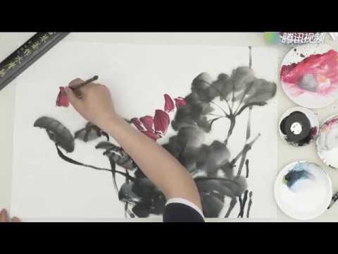 Chinese art painting : Pink Lotus Flower