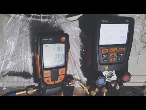 Использование вакуумметра TESTO 552 и манометра TESTO 550.