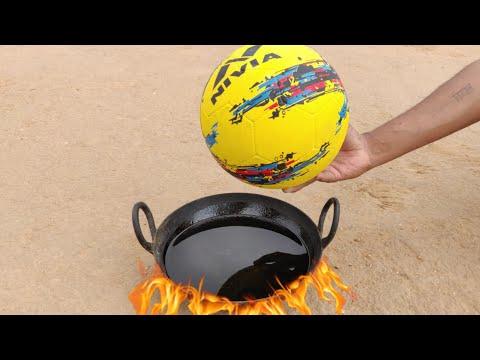 Football vs Hot oil experiment || Football inside very hot oil || Experiment king