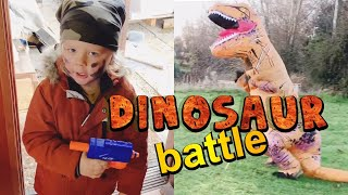 DINOSAUR HUNT NERF BATTLE - 3 YEAR OLD BATTLES DINOSAUR - DINOSAURS FOR KIDS