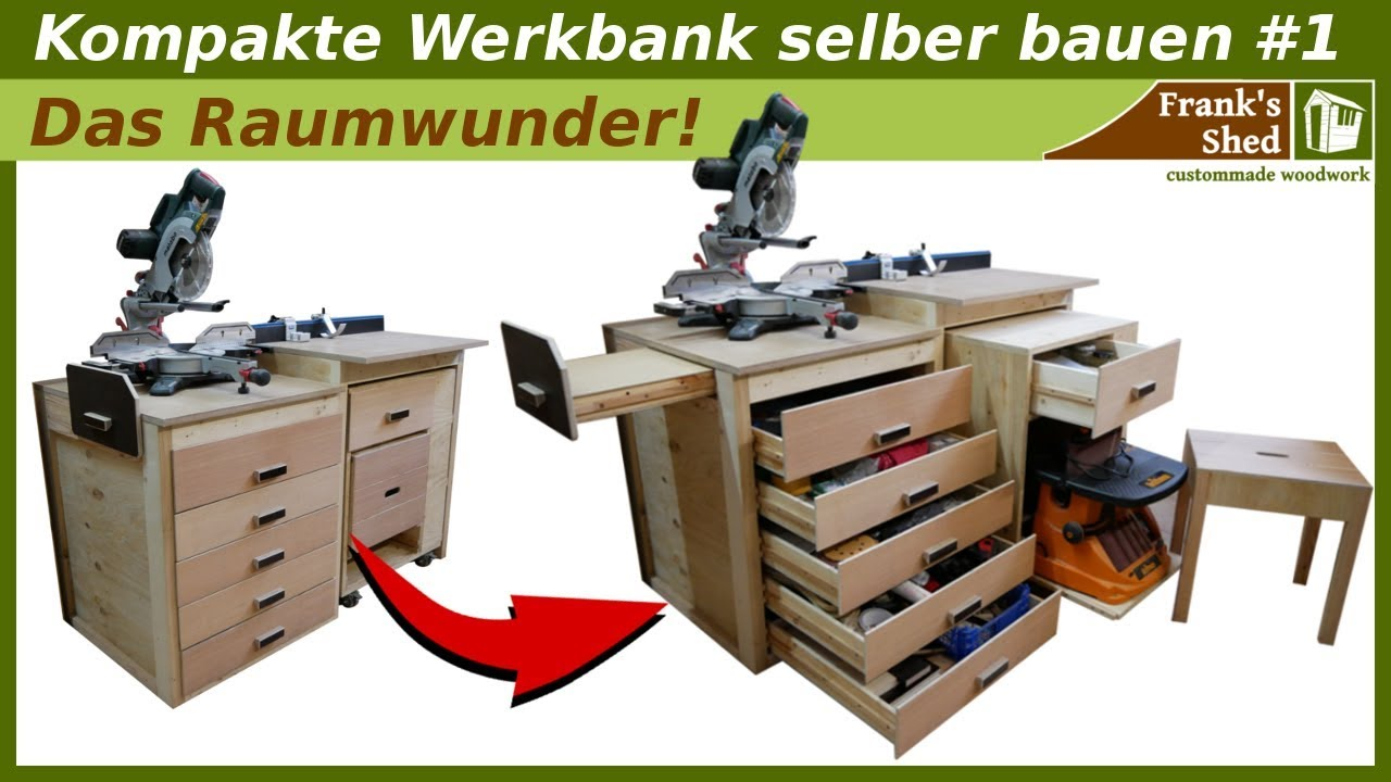 werkbank selber bauen aus holz kapps gestation tisch werkstatt einrichten franks shed youtube. Black Bedroom Furniture Sets. Home Design Ideas