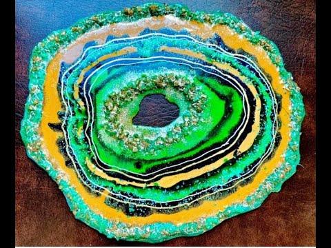 레진아트 Resin art free form Geode With acrylic paint, crystal and glitters mrs colorberry style 레진 공예
