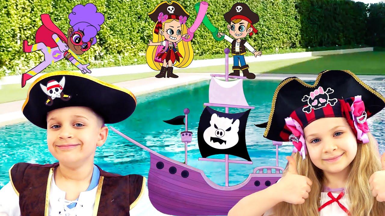 ديانا وروما سباق القوارب! DIY! أنقذ صديق جديد من القراصنة
