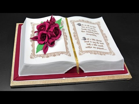 Cake Designs Books Download : How to Make a 3D Book Cake - YouTube