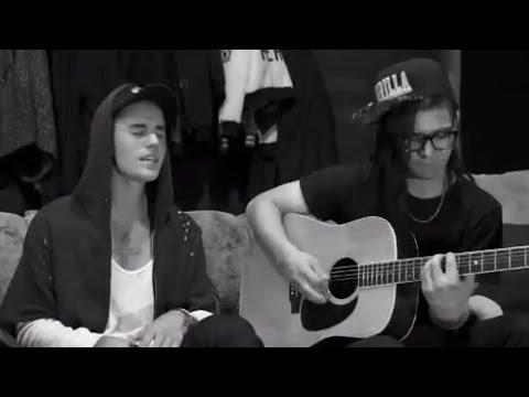 """Justin Bieber """"Sorry"""" Acoustic Teaser With Skrillex"""