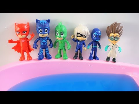 Learn Numbers PJ Masks - Six Masks Jumping on the pool song nursery rhymes