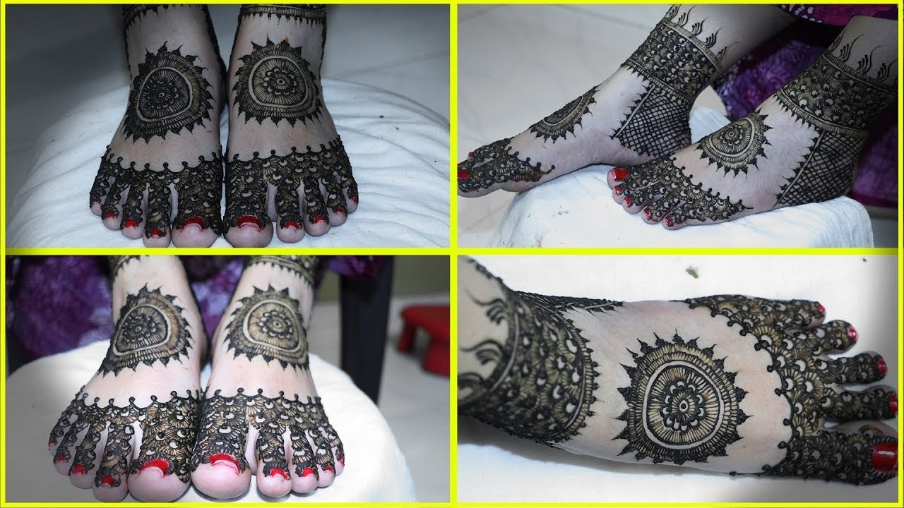 Leg Mehndi Designs Step By Step : Full foot mehndi design tutorial front and back step by