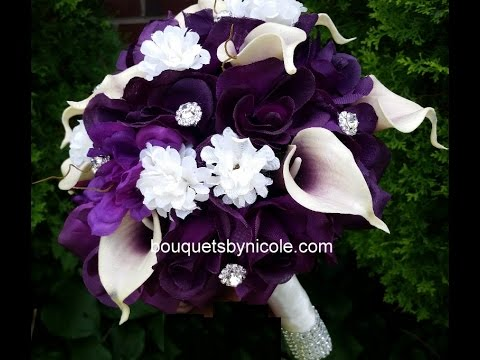 """Black and White silk roses with rhinestone,real touch calla lily 10/"""" Bouquet"""