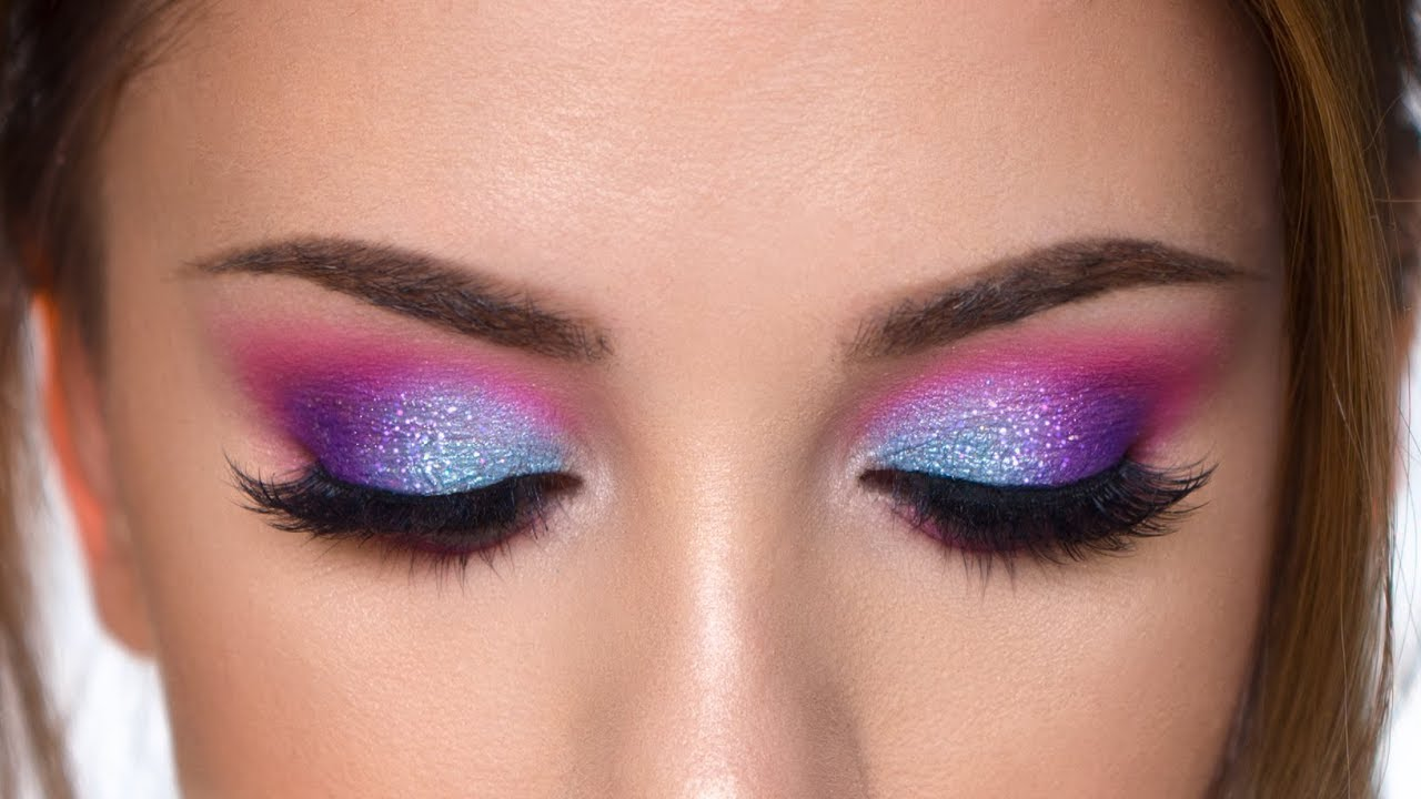 colorful glitter smokey eye makeup tutorial | purple , teal and pink