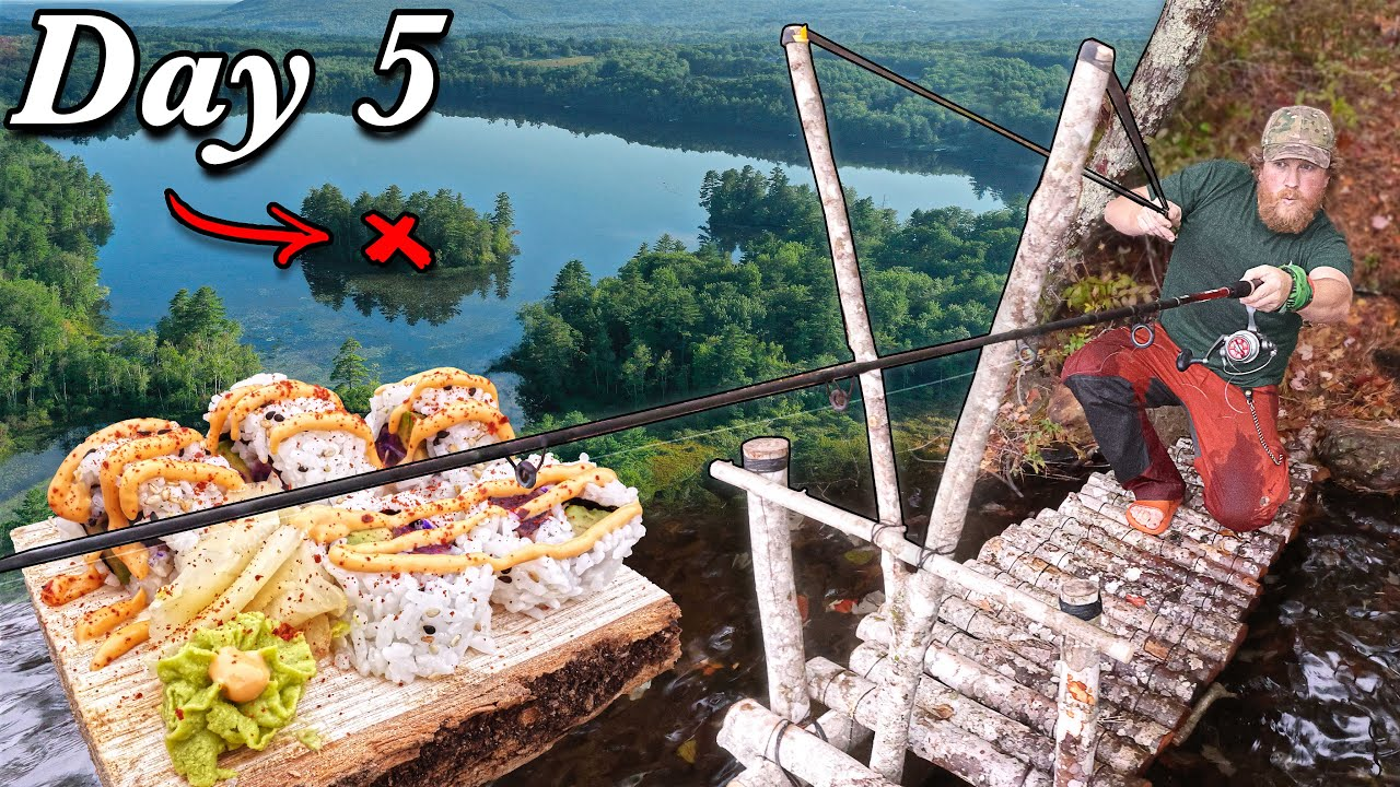 Download EEL Sushi Catch and Cook Giant Slingshot Fishing - Day 5 of 7 Day Island Survival Challenge Maine