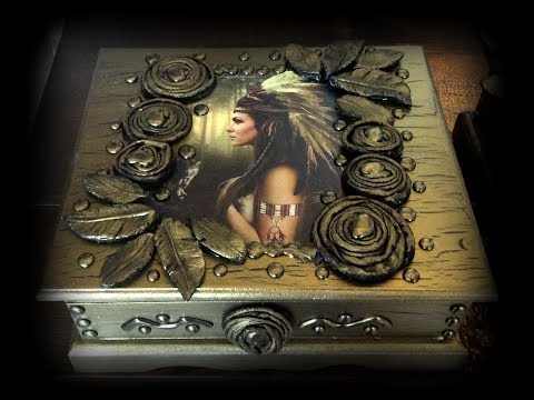 Tutkal Çatlatma Antik Altın Kutu Tasarımı / Glue Cracking Antique Gold Box Design / Ahşap Boyama
