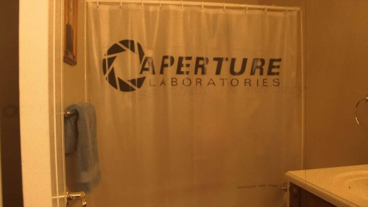 Portal 2 Aperture Laboratories Shower Curtain From ThinkGeek