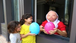 Grandma Kids Pretend Play In Real Life Surprise Eggs with Toys , fun video