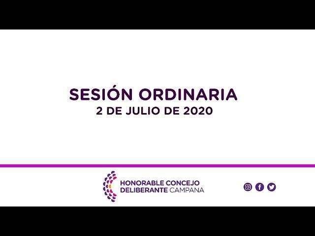 Sesión Ordinaria, 2 de Julio de 2020.