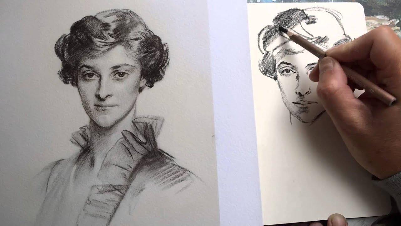 Charcoal pencil drawing in moleskine sketchbook of a john singer sargent portrait
