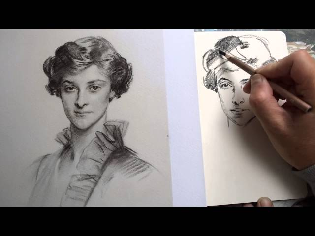 Charcoal pencil drawing in Moleskine sketchbook of a John Singer Sargent portrait.