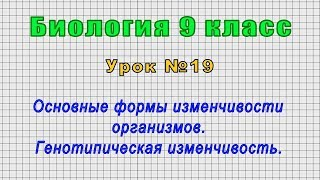 Биология 9 класс (Урок№19 - Основные формы изменчивости организмов. Генотипическая изменчивость.)