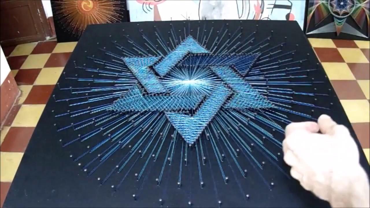 String art estrella de david hilorama cuadro con hilos - Plantillas para la pared ...