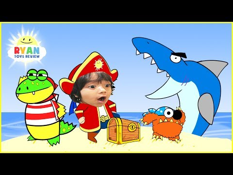 Thumbnail: RYAN PIRATE ADVENTURE CARTOON for children! Treasure Hunt with Shark Animation for Kids