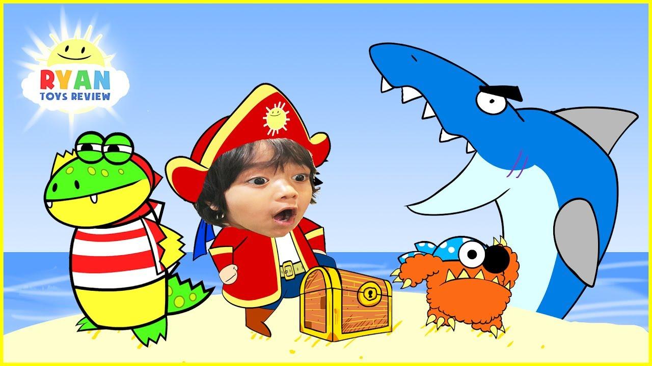 ryan pirate adventure cartoon for children! treasure hunt