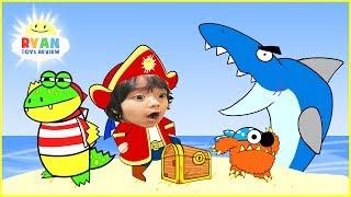 RYAN AVENTURA PIRATA de dibujos animados para niños! Búsqueda del tesoro con el Tiburón de Animación para los Niños
