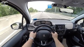 Peugeot 208 1.2 (2016) on German Autobahn - POV Top Speed Drive