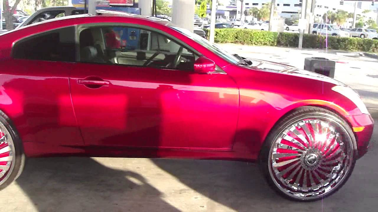 The 1st candy red infiniti g35 coupe on 28 dub swyrls toy car the 1st candy red infiniti g35 coupe on 28 dub swyrls toy car edition youtube vanachro Image collections