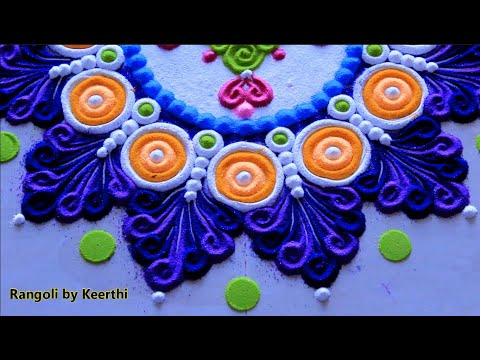 Beautiful Rangoli Designs L  Muggulu Kolam L घर पर रंगोली डिजाइन L Rangoli Designs With Colours