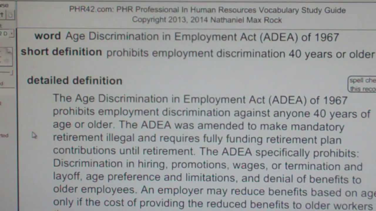 age discrimination in employment act adea of phr sphr age discrimination in employment act adea of 1967 phr sphr license exam vocabubee com