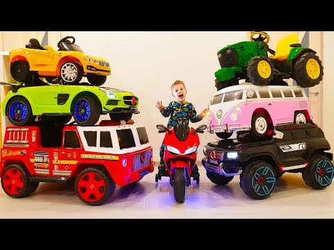 Max and Nikita ride on toy cars for kids MEGA COMPILATION