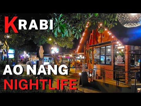Ao Nang Nightlife. Restaurants Bars Shops Street Food. AoNang By Night Krabi, Phuket - Thailand [4K]