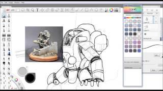 """""""Como dibujar"""" armadura de ciencia ficcion (how to draw sci fi powersuit)"""