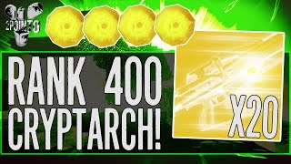 "Destiny: ""LEVEL 400 CRYPTARCH"" INSANE 20 Exotic Engram Opening ""Cryptarch Rank 400"""