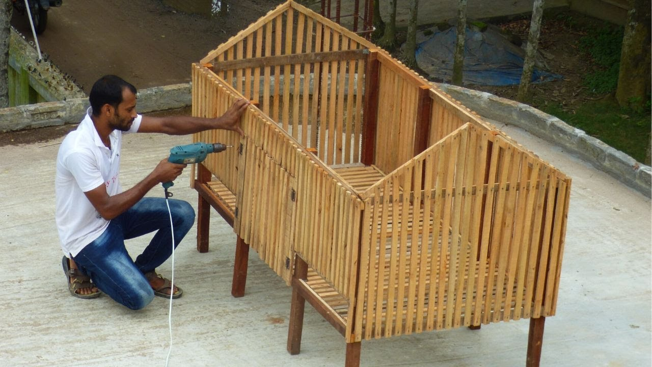 Chicken Cage Using Wood | Easy Build a chicken coop at home