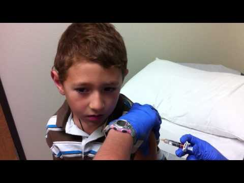 Zach gets a flu shot and smiles! Kids Must Watch!!