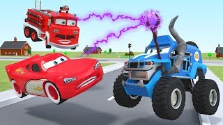 Lightning McQueen Animation Police Car Disney Monster Trucks Cartoon Fire Engine